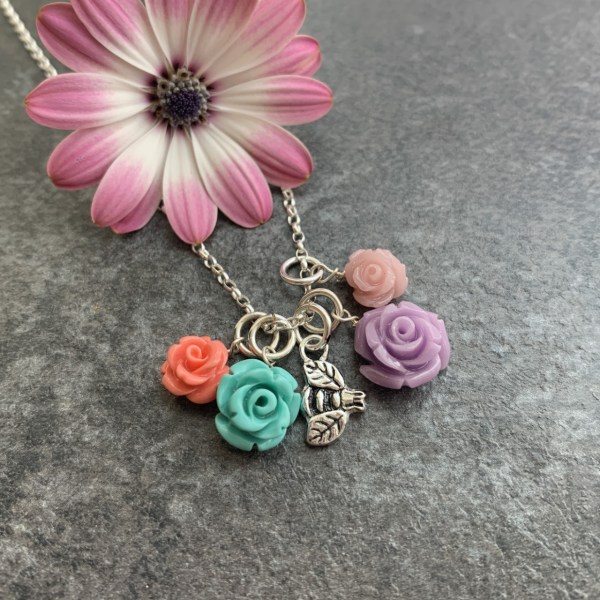 Bee and flower pendant