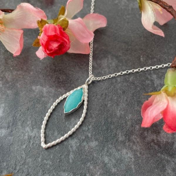 Amazonite turquoise green gemstone silver pendant