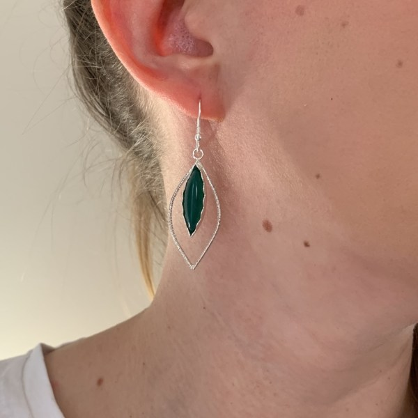 Green jade gemstone dangly earrings