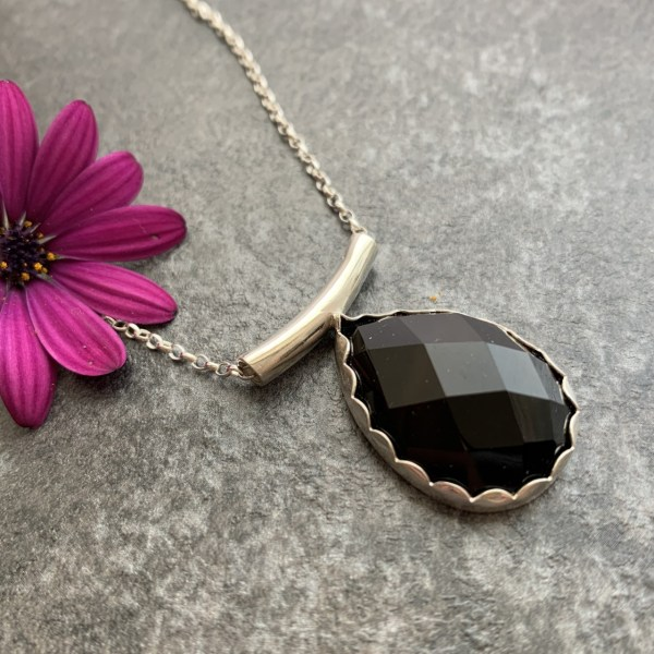 Black agate gemstone pendant