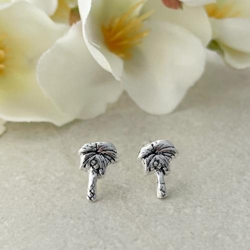 Palm tree earrings silver jewellery