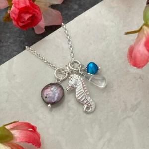 Silver seahorse nautical charm necklace