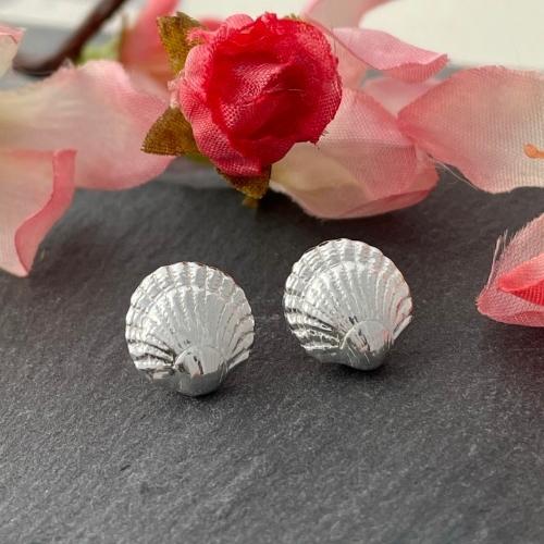 Silver seashell earrings