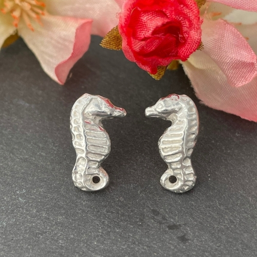Seahorse Silver nautical stud earrings