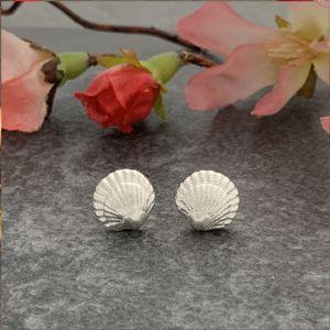 Silver shell stud earrings by Laura Llewellyn Design