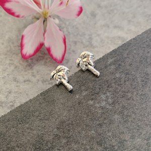 Silver palm tree stud earrings