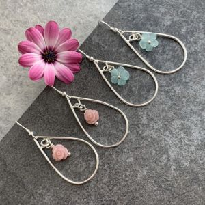 Silver flower earrings in Pink and green