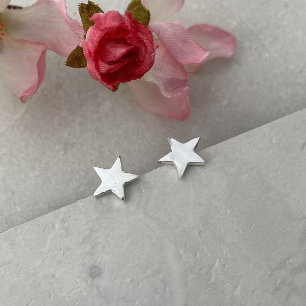 Small Silver Stud Earrings choose from star, heart, circle or square
