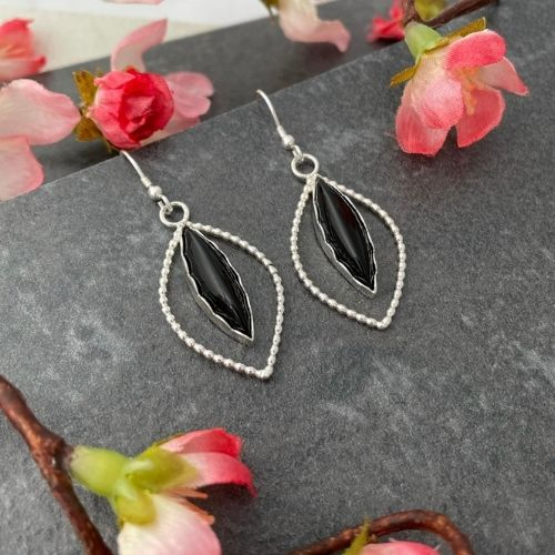Unique black onyx gemstone earrings