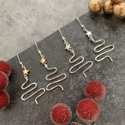 Gold star Christmas tree earrings