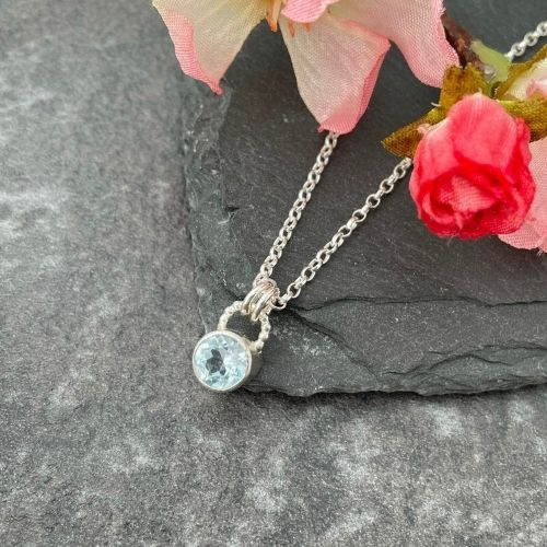 Blue topaz gemstone pendant handmade in silver