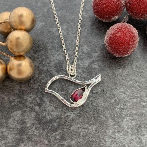 Silver Robin Bird pendant by Laura Llewellyn Design