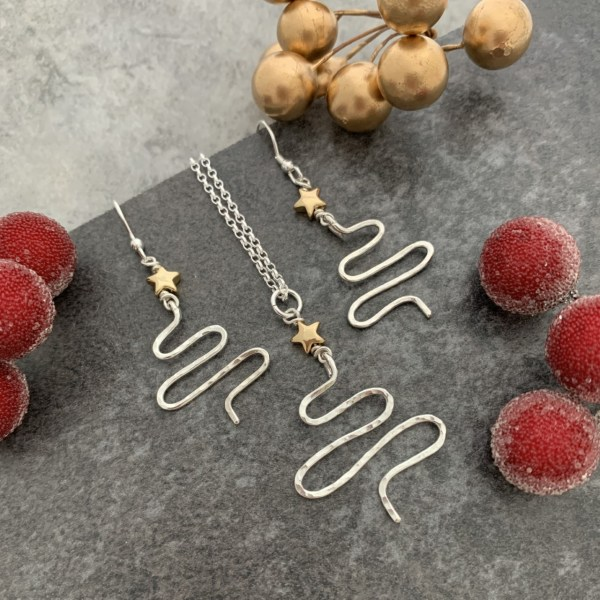 Gold star Christmas Tree Pendant and earrings