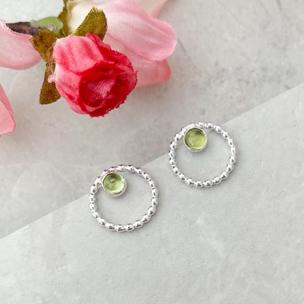 Peridot green gemstone earrings Silver Studs