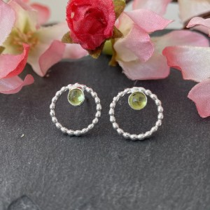 Peridot green gemstone earrings Silver Studs