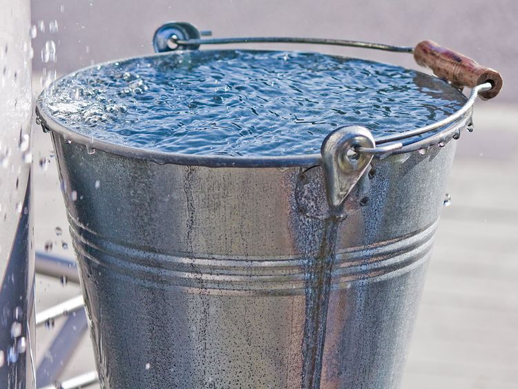 Bucket of Water Outside
