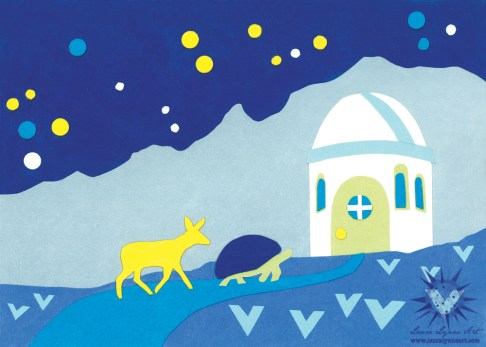 Illustration of deer or donkey and turtle visiting mountain observatory