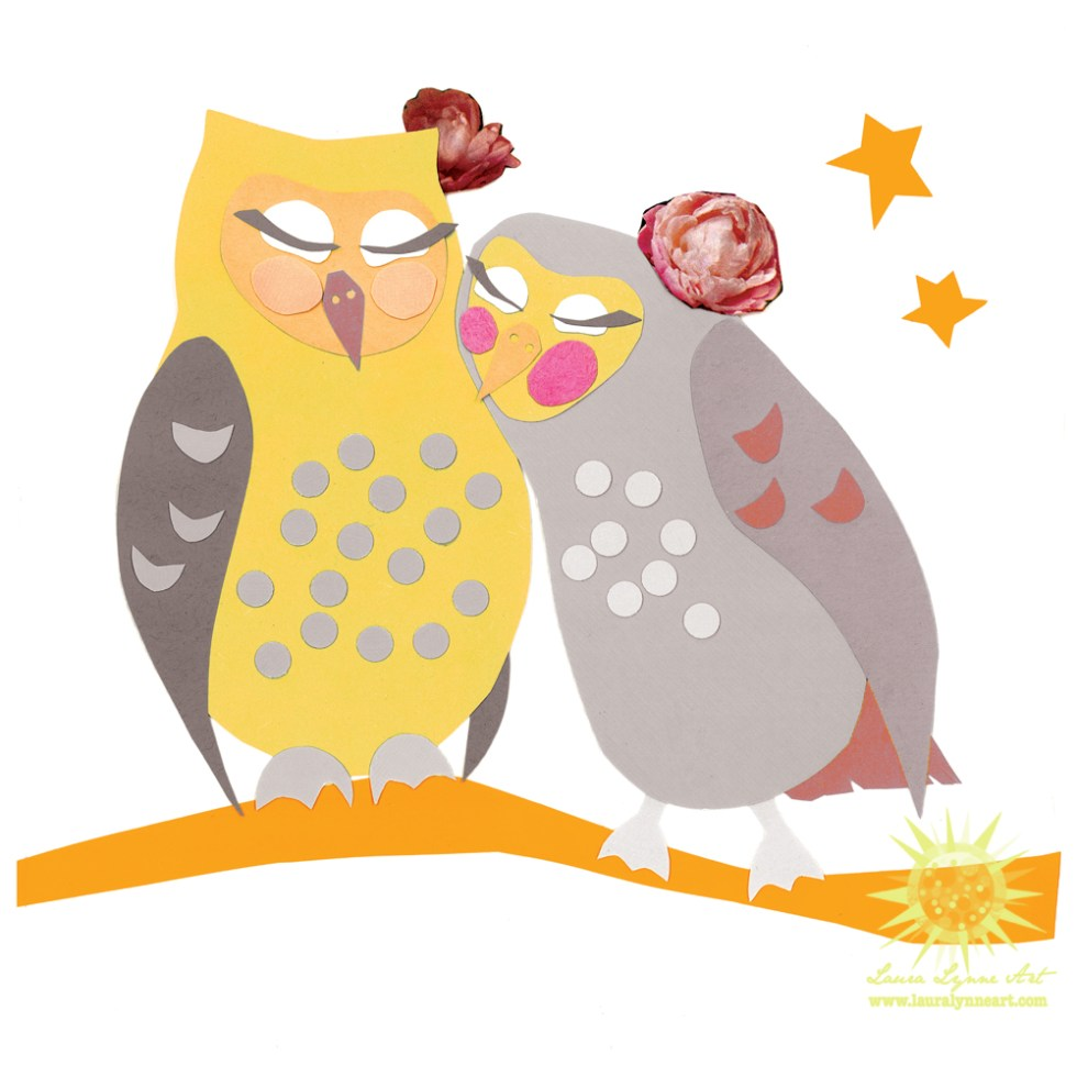 lesbian owl couple illustration