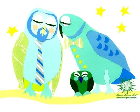 Gay owl family of three with adopted baby