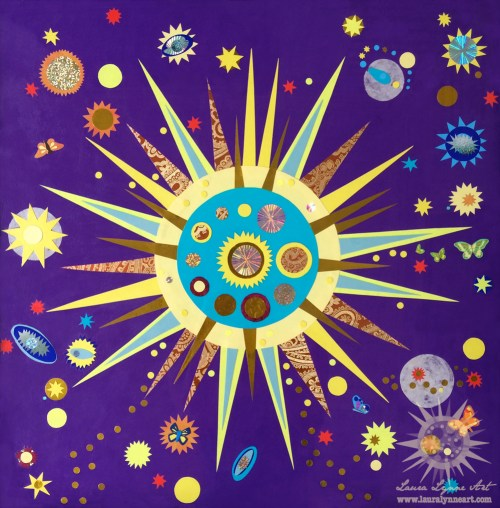 Large Sun Illustration with Butterflies and Galaxies