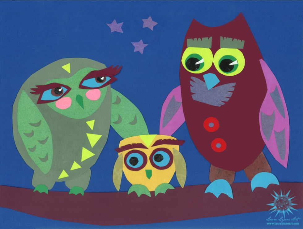 gender neutral owl family of three with deep blue background