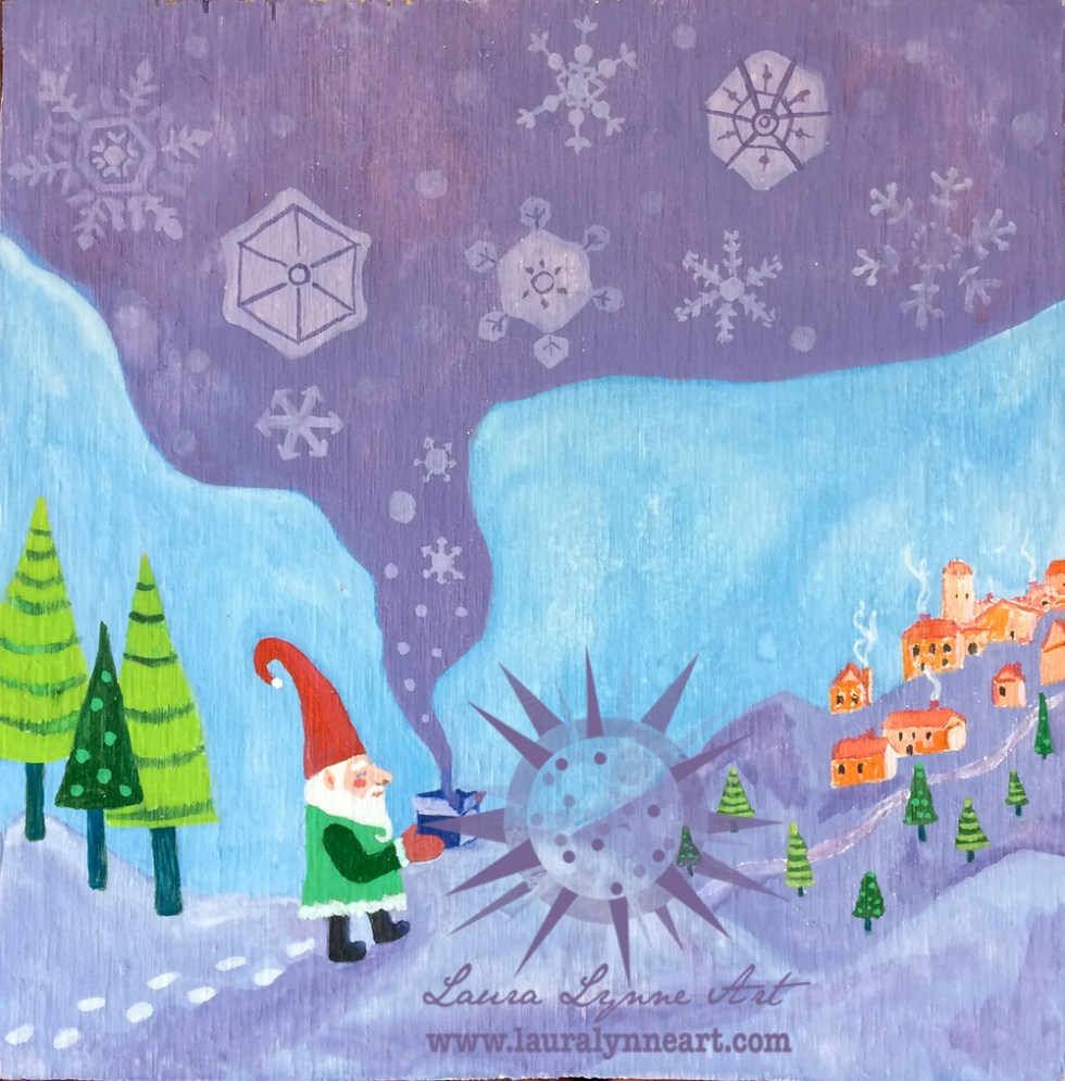 painting of Santa gnome bringing snow to village before winter Christmas Holiday