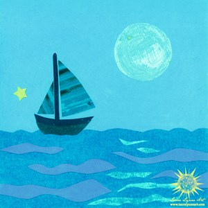 Paper Cut Collage sailboat Mixed Media Wall Art Archival Print Reproduction