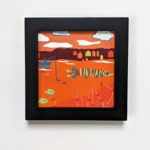 Black Framed Orange Musky Art