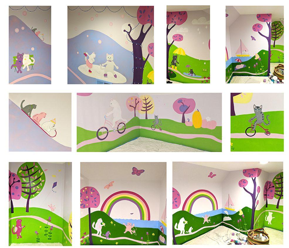 cat mural play room