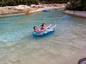 The girls floating down the Lazy River