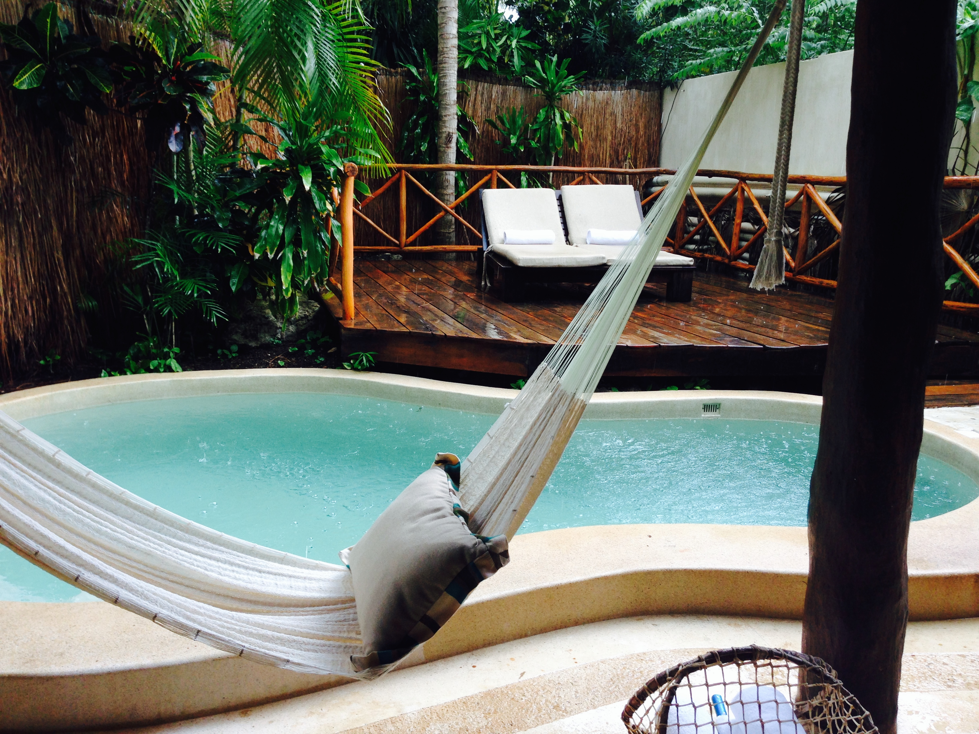 Private pool and hammock for lounging at our room.