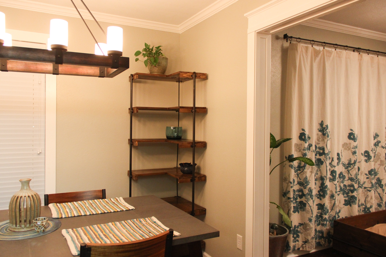 Making A Rustic Industrial Free Standing Corner Shelf Set