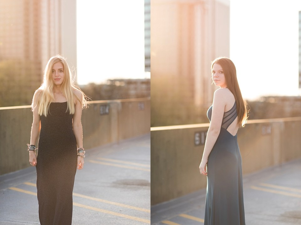 prom, richmond, glen allen, virginia, downtown, urban, sunset, rooftop, glamorous, senior, dress