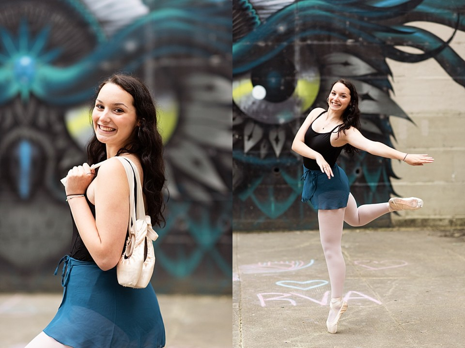 senior, dance, ballet, en pointe, richmond, RVA, laura matthews, canal walk, downtown, urban, dancer, portraits, photos