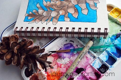 2pine cone sketch