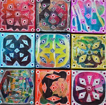 16wycinanki canvas tiles laura miller artist