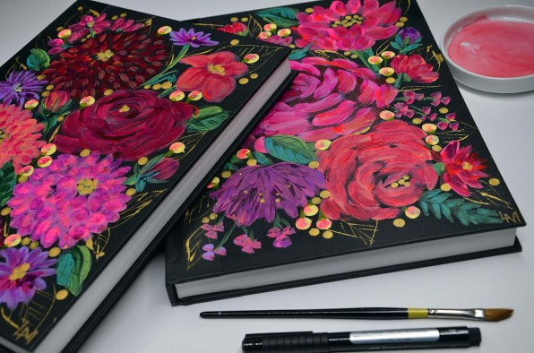 1handpainted journal pink