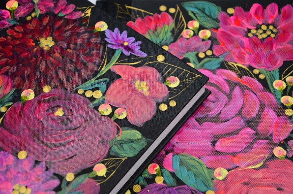 8handpainted journal pink