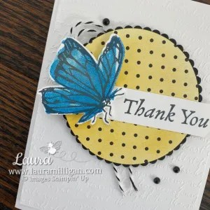 Thank You Card using A Touch of Ink Stamp Set and True Love Designer Series Paper - Stampin' Up! Laura Milligan