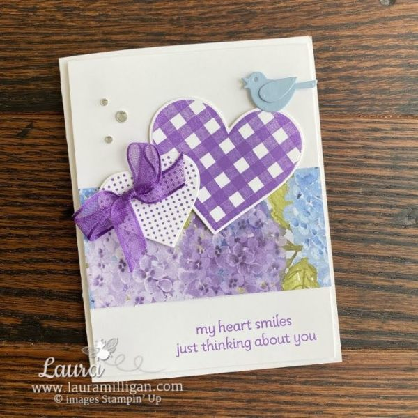 Card created by Laura Milligan I'd Rather Bee Stampin' using the Lots of Heart Bundle and Hydrangea Hill DSP by Stampin' Up! Order Online Anytime Earn Free Bees