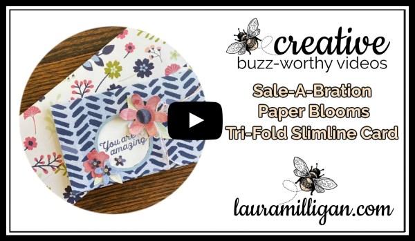 Laura Milligan YouTube Thumbnail - Stampin' Up! Sale-a-Bration Tri-Fold Slimline Card