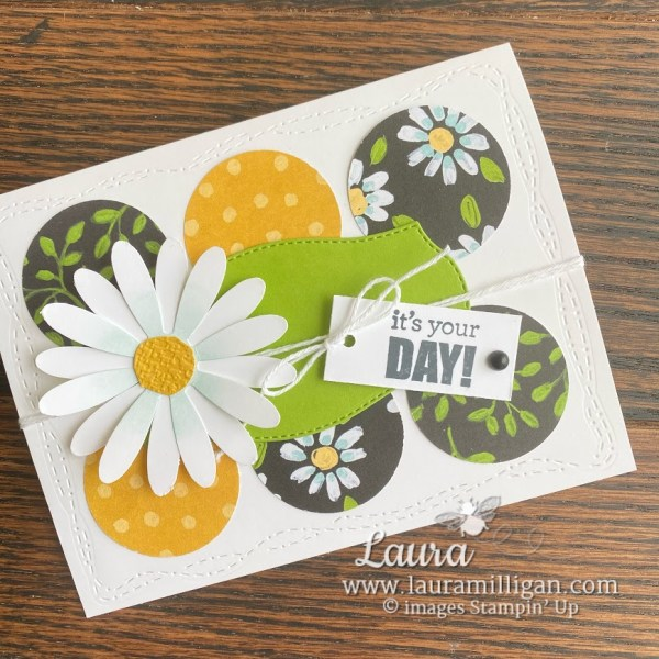 create this card with the Flower and Field Designer Series Paper and Daisy Punch from Stampin' Up! by Laura Milligan, Demonstrator