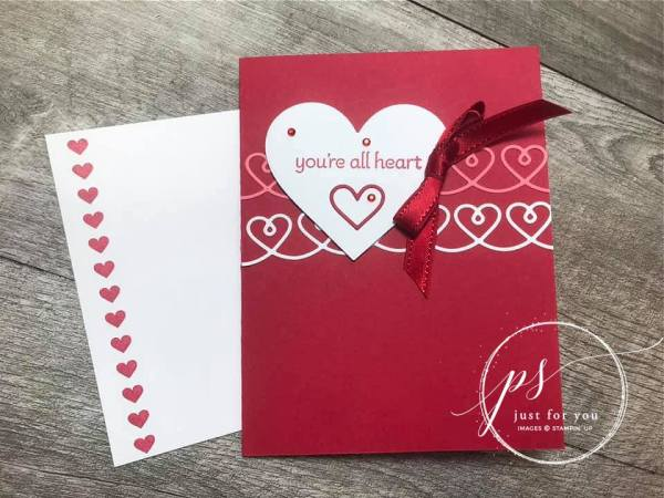 create this card with the Lots of Hearts bundle by Stampin' Up! demonstrator Laura Milligan I'd Rather Bee Stampin'