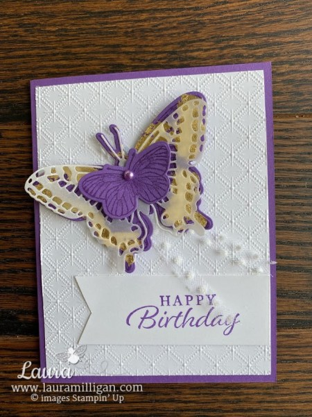 create a beautiful gilded leafing Brilliant Butterfly Laura Milligan Stampin' Up! I'd Rather Bee Stampin'