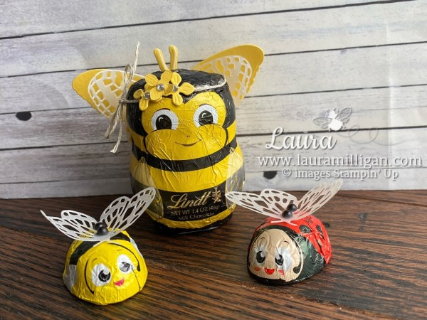 create a cute bee and lady bug with the Butterfly Brilliance Dies by Laura Milligan Stampin' Up! Earn Free Product