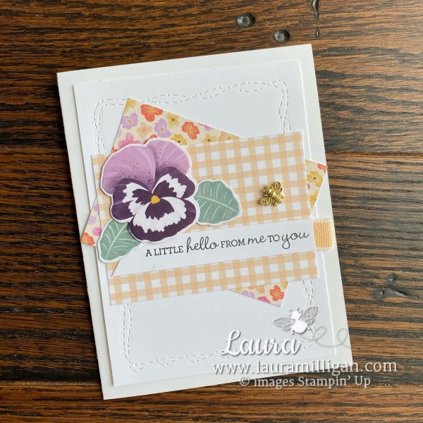 My Top Picks - Pansy Petals Suite Collection Card by Laura Milligan Id Rather Bee Stampin Hello Card