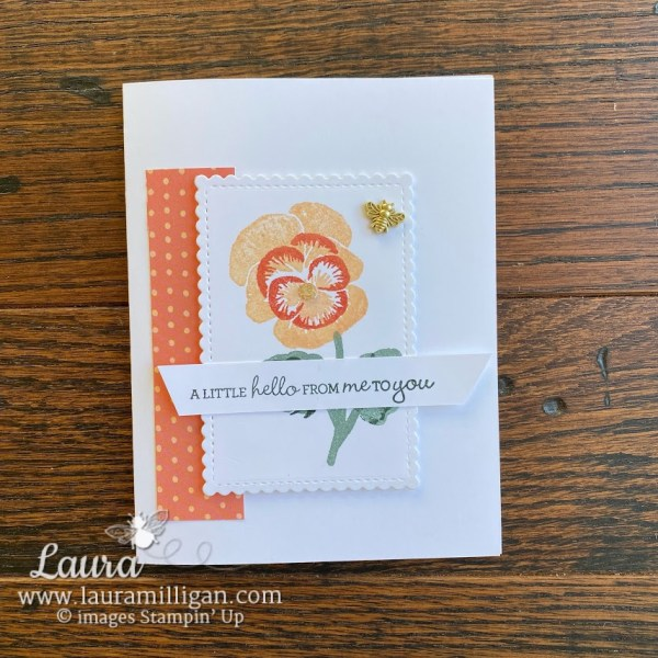 pansy patch card stamping bumblebee trinket laura milligan