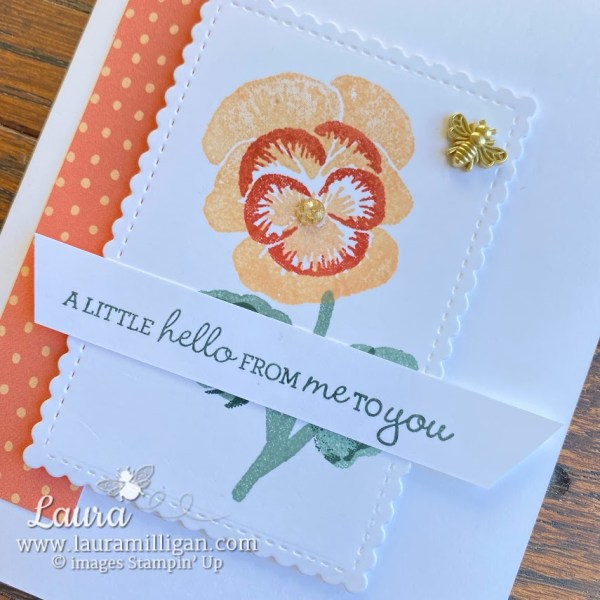 pansy patch handmade card by Laura Milligan Stampin' Up! earn free product