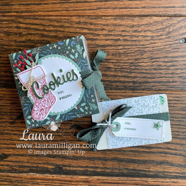 Christmas Gift Card and Cookie Box Laura Milligan Tidings and Trimmings Hand Made Stampin' Up!