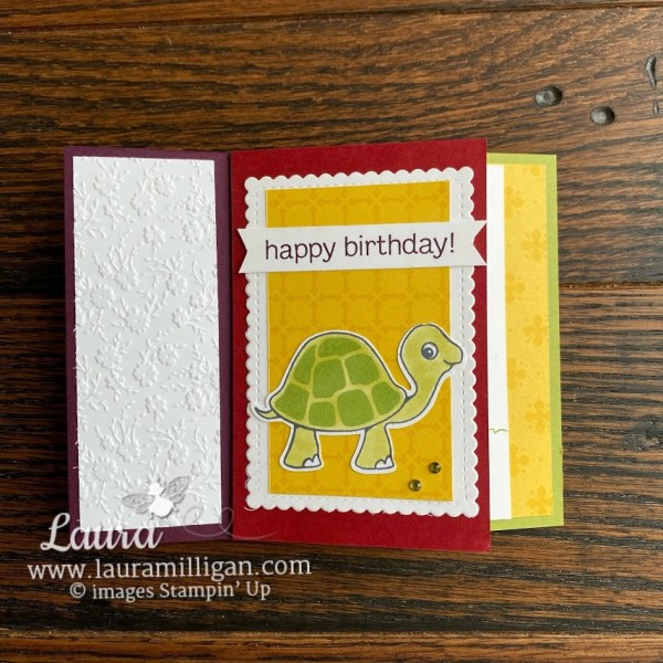Happy Birthday Turtle and Friends Tower Pinwheel Card by Laura Milligan